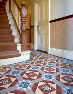 Traditional Floor Tiles In The Hallway Of An Edwardian Home C 1909