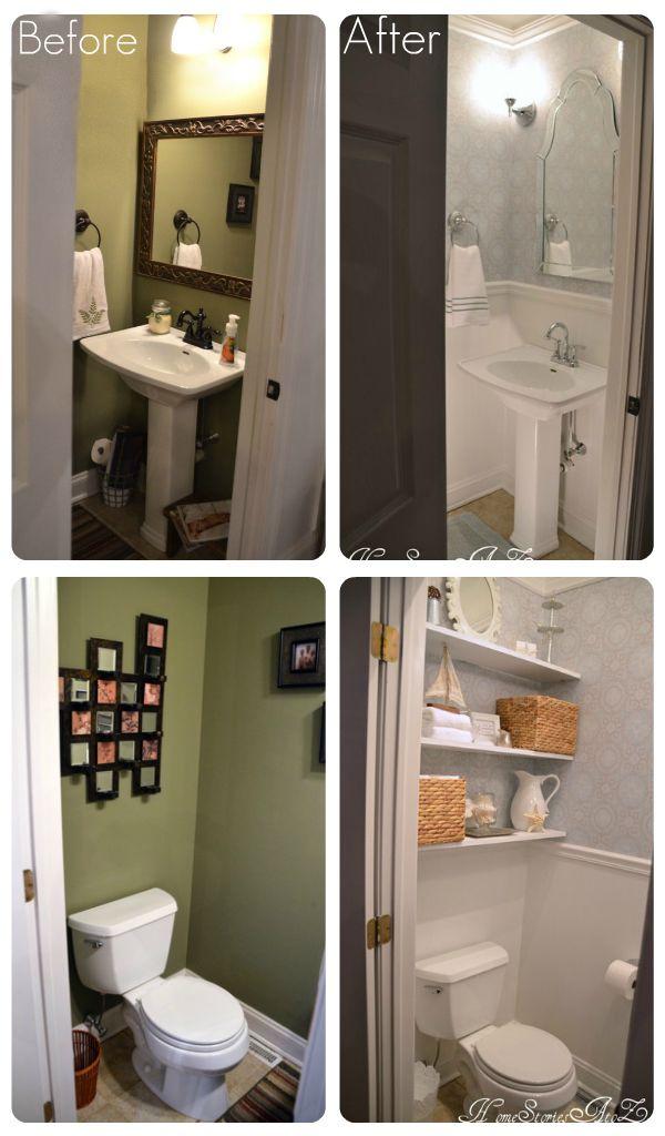 Half Bath Reveal Powder Room Tiny Powder Rooms Powder