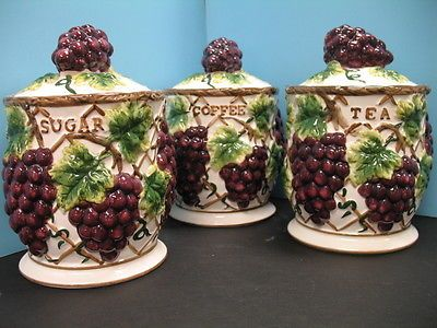 country kitchen canister sets ceramic shelves wall mounted 3 pcs 3d grape set decor vineyard wine ...