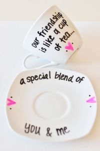 Friendship Tea Cup & Saucer Cute Saying by UmphreyDesigns ...