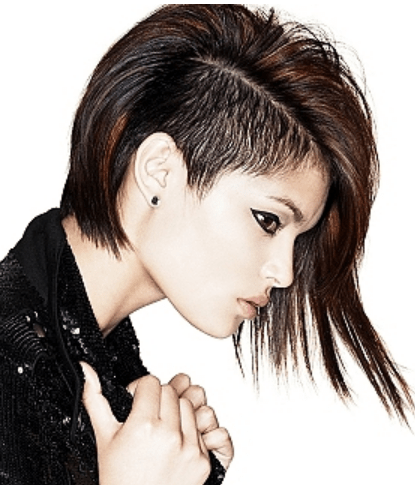 Punkish Women Hairstyle With Very Long On One Side And Very Short