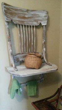 Repurposed old chair into shelf with towel holders for ...