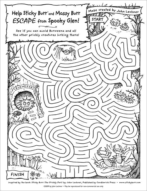 Print this maze to help Sticky Burr and Mossy Burr get out