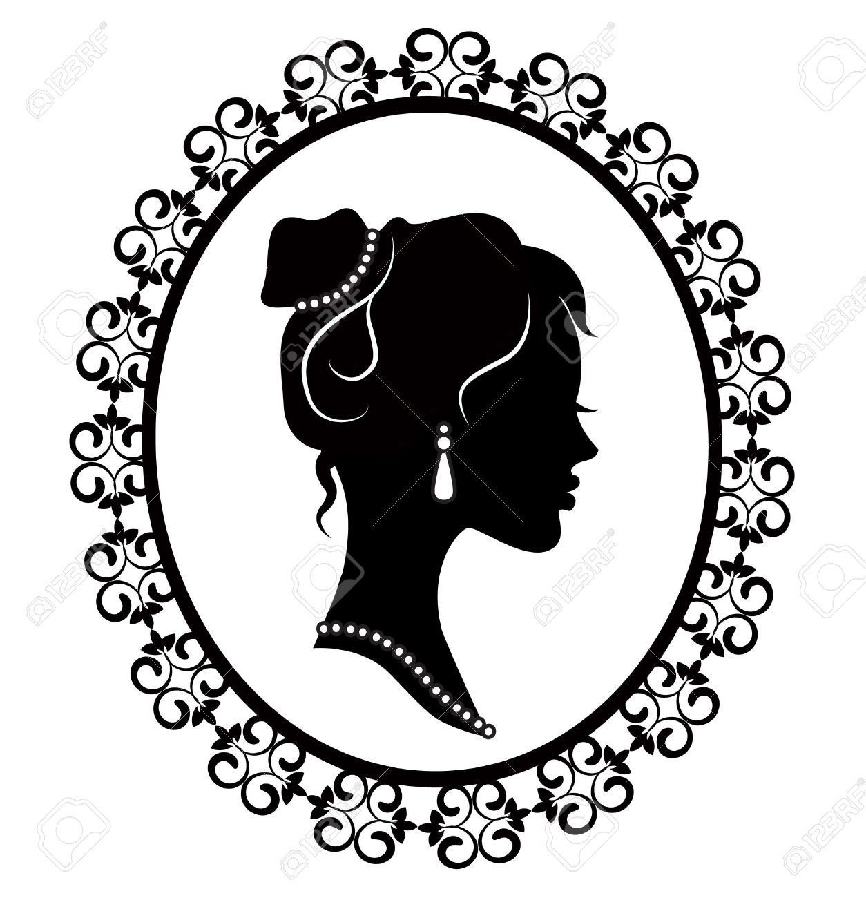 19561434-retro-silhouette-profile-of-a-young-girl-in-a