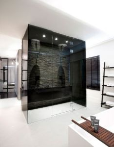 Black white minimalist contemporary bathroom interior design by grand johson also rh pinterest