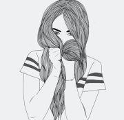 black drawing girl hair outline