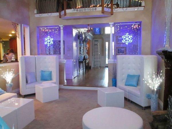 Winter Wonderland Teen Kids Bat Mitzvah Lounge White & Blue