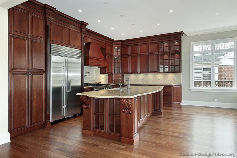 Traditional Dark Woodcherry Kitchen Cabinets With Wood