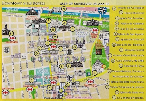 TRAVEL CHILE SITE Santiago Centro Downtown Map Santi