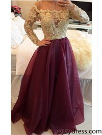 Custom Made Long Sleeves Maroon Prom Dress with Golden Top ...