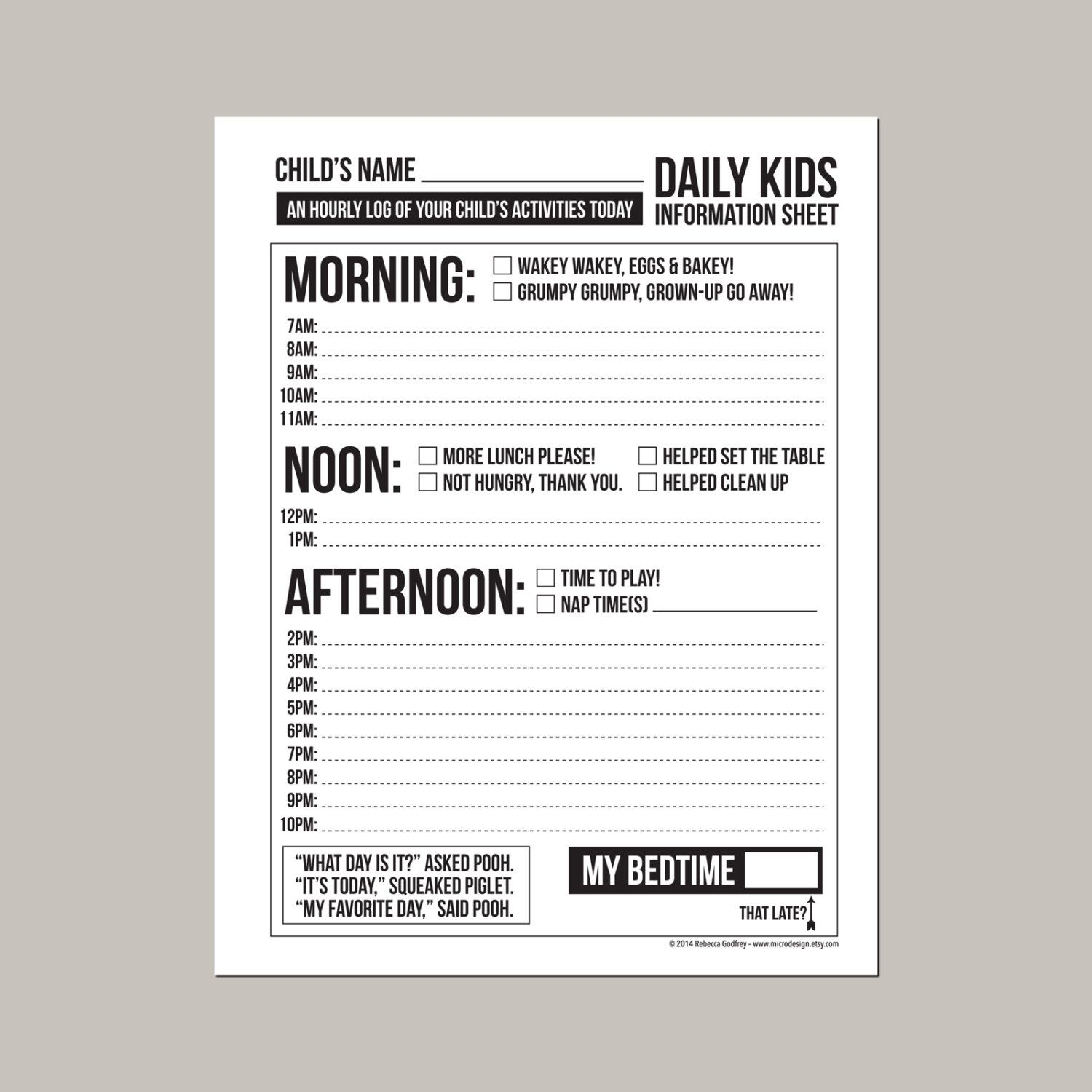 Daily Babysitting Or Nanny Report Printable Sheet By