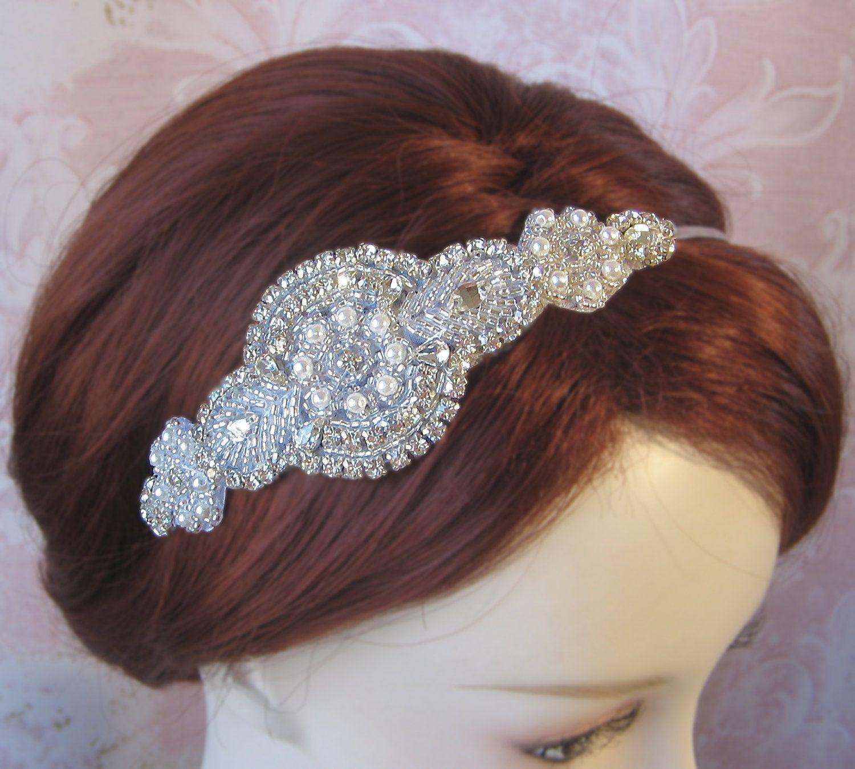Pearl and Rhinestone Headband Bridal Headband Crystal Silver Art