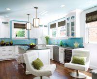 Mid-century kitchen, dark walnut wood floors, white ...