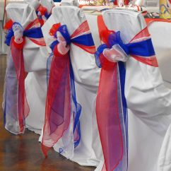 Royal Blue Chair Covers Folding Lounge Canadian Tire Red White And Organza Triple Bows On