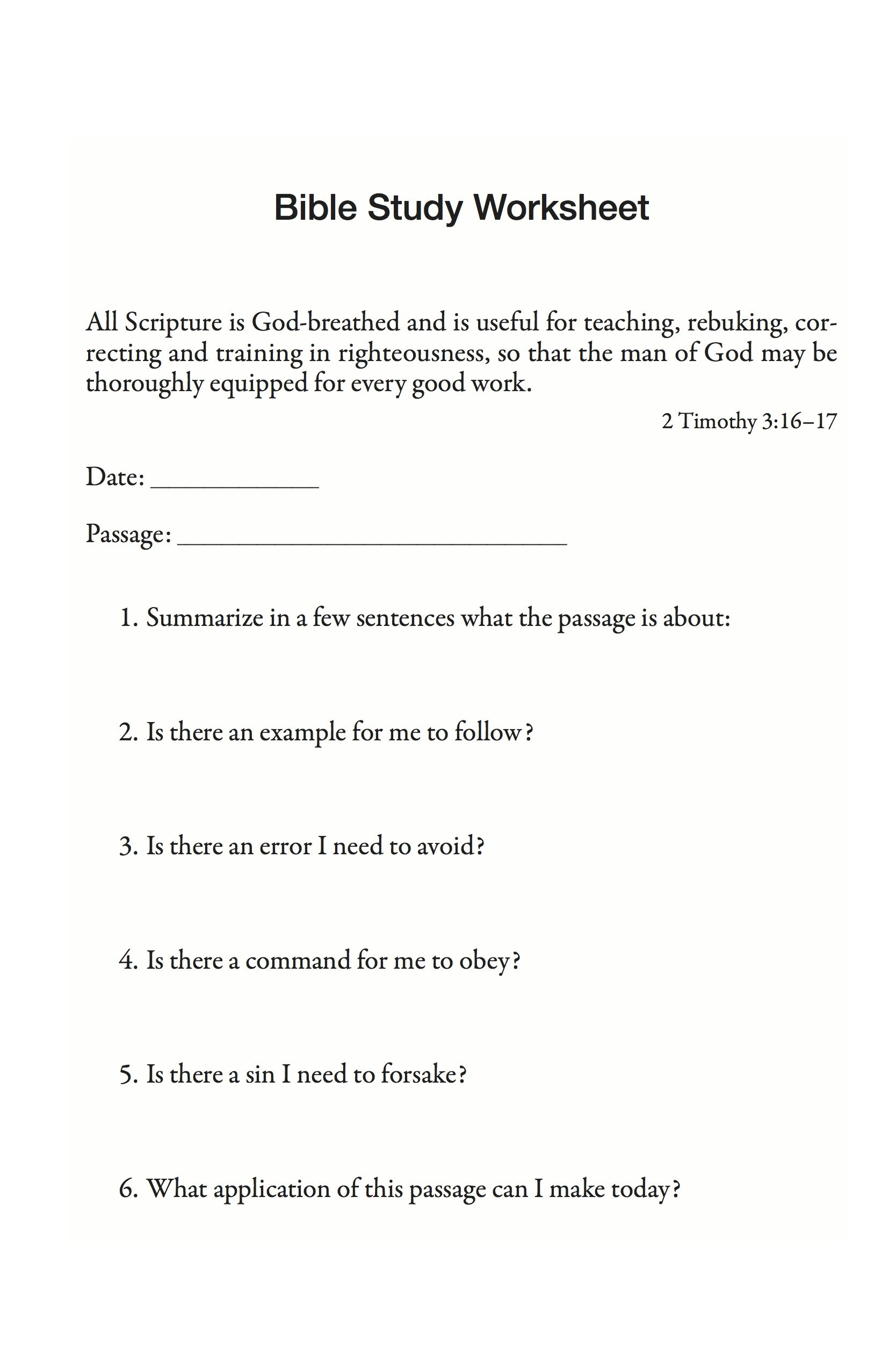 Bible Study Worksheet