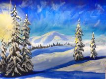 Winter Sentinals Snowy Landscape Easy Painting