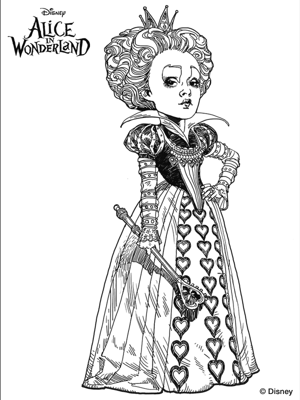 Alice Queen Red Coloring Page Wonderland