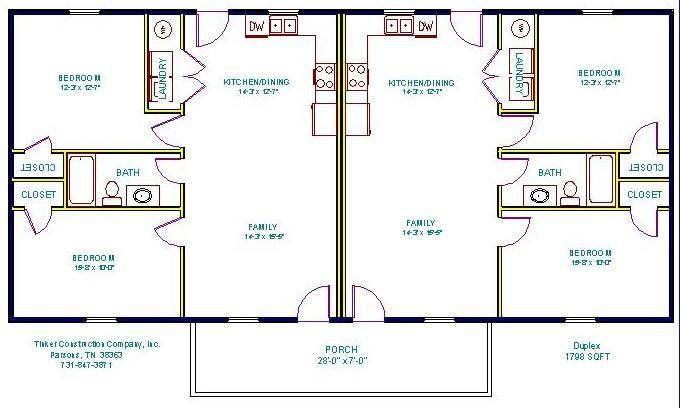 Two bedroom duplex house plans for 2 bedroom 1 bath duplex floor plans