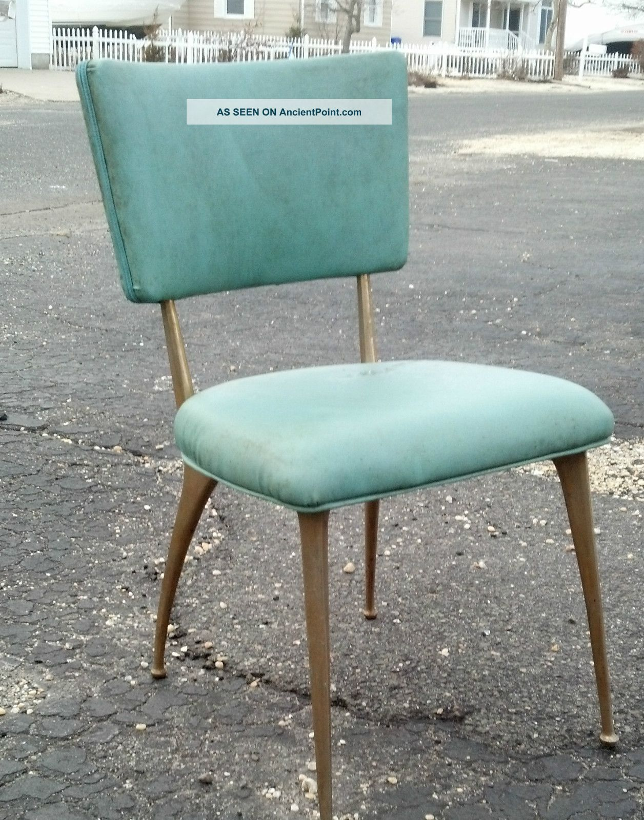 Aqua Dining Chairs Set Of 4 Mid Century Eames Era Aqua Brass Legs Kitchen