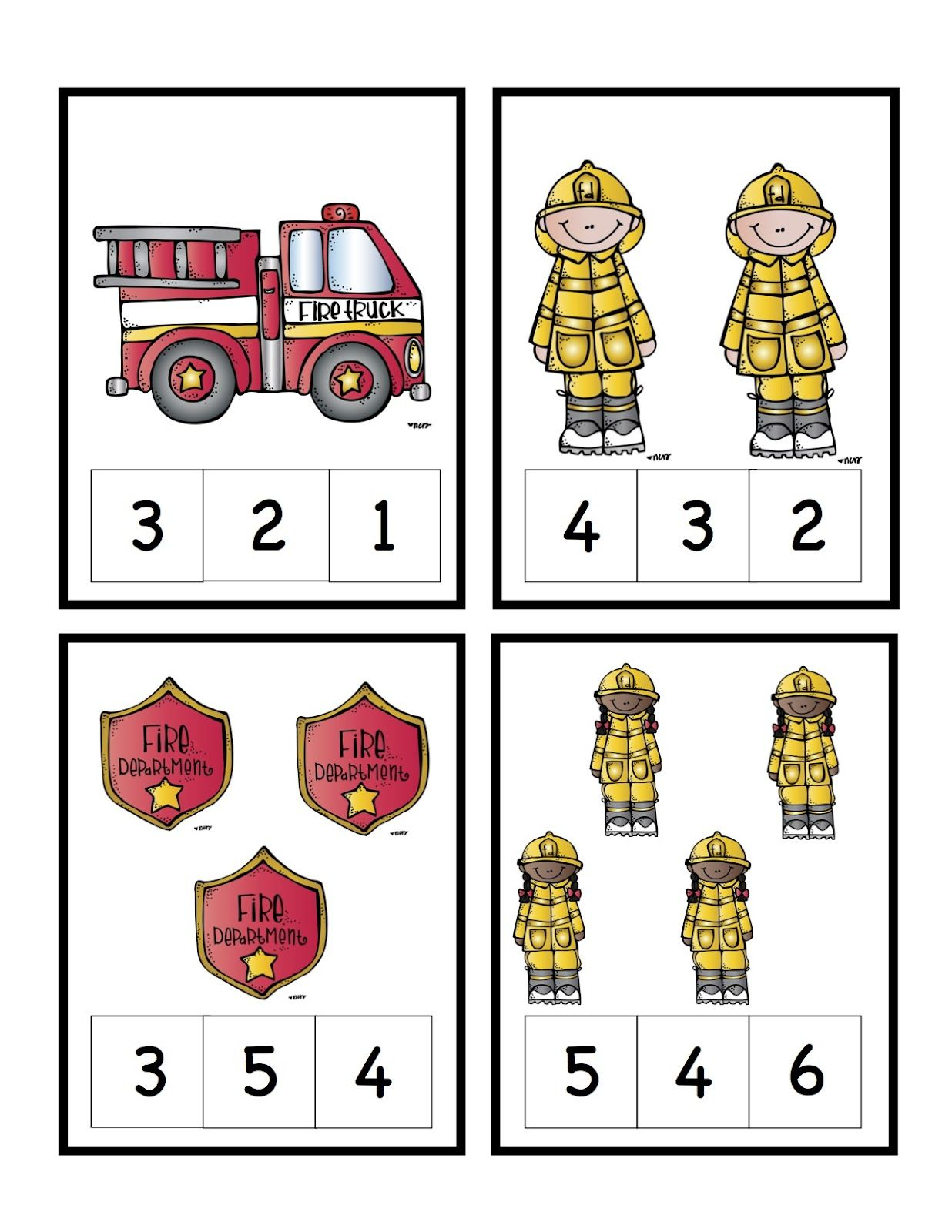 Preschool Printables Fire Safety Number Cards