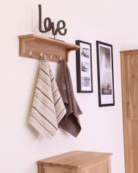 Solid Oak Wall Mounted Coat Rack This wall mounted oak ...