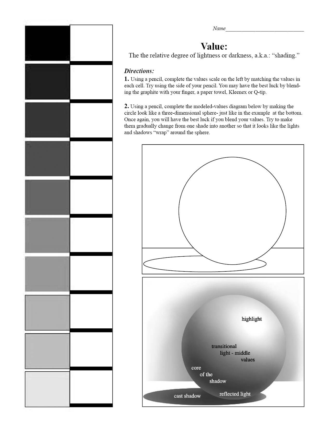 Value Scale And Sphere Worksheet 7th Grade Art Blending Value Shading Art