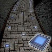 Outdoor Solar White Brick Garden Lights with 6 LEDs ...