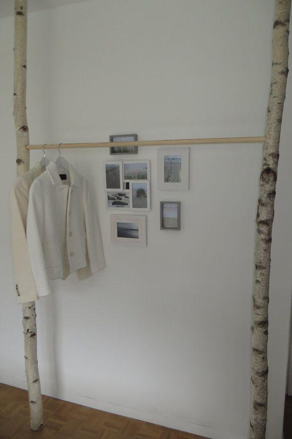 Kleiderstange Birke mit Holz oder Metallstange von