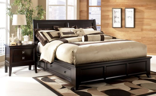 Ashley Martini King Sleigh Bed With Storage Clearance Outlet Raleigh Furniture Home Comfort