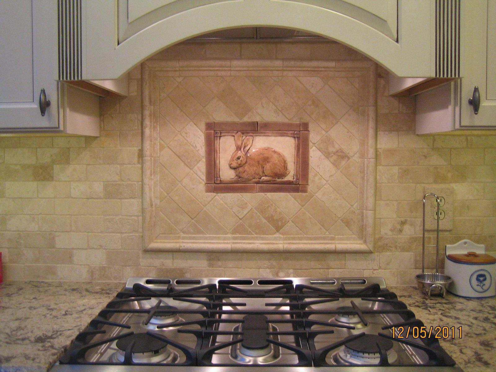 decorative tiles for kitchen unique cabinet pulls tiled backsplash with handcrafted rabbit tile as