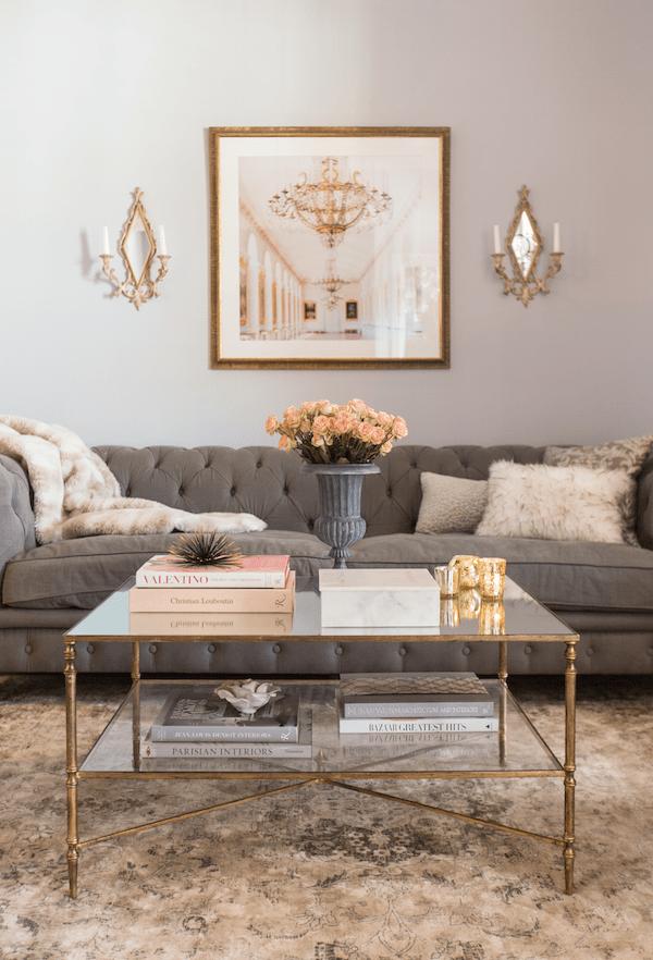 feminine living room in blush and grey