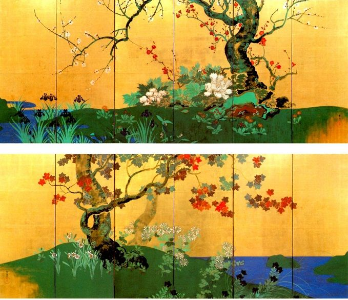 「四季花木図屏風」 鈴木其一 | Rin-pa: 琳派 | Pinterest | 屏風,四季,図