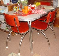 Chrome Dinette Table and 4 chair set ~ graphic Red Apples ...