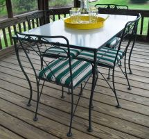 Vintage Meadowcraft Wrought Iron Glass Top Table & Chairs