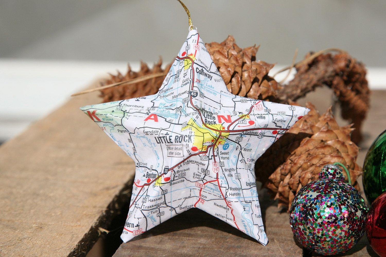 Little Rock Arkansas Map Covered Star Ornament AR Home Decor