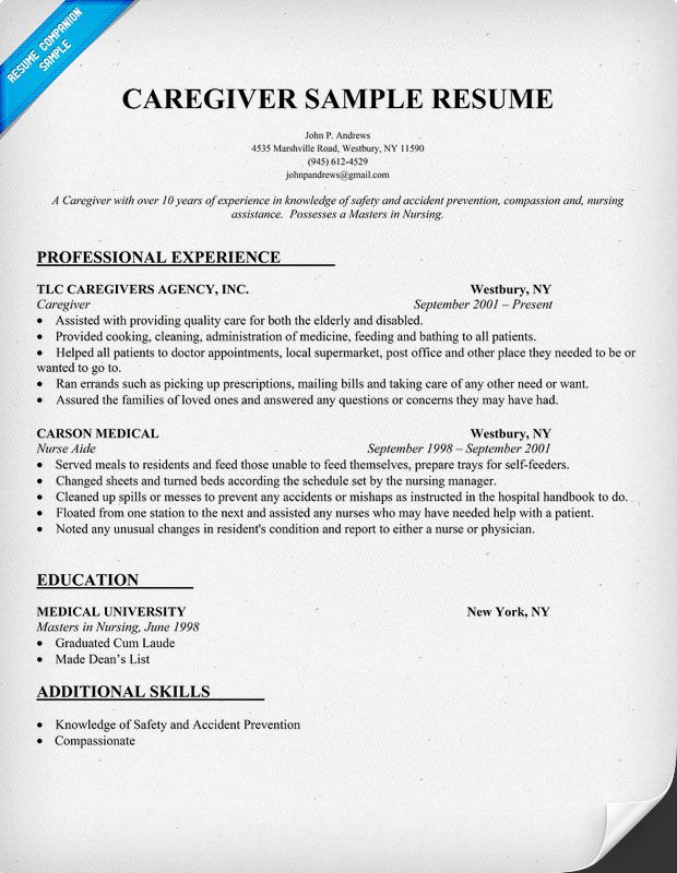 Sample Resume For Caregivers. Unforgettable Caregiver Resume