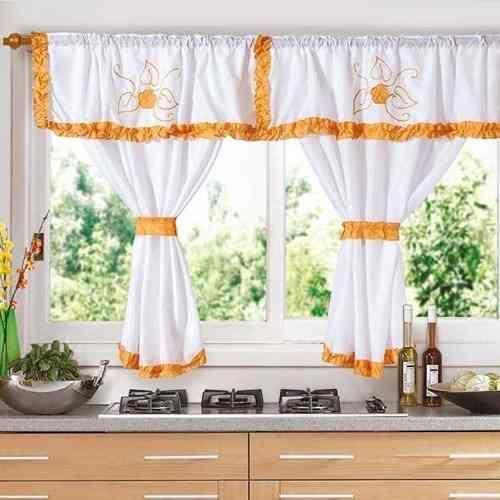 Cortinas para Cocina con Galera en Color Naranja  Cortinas para Cocina  Pinterest  Ideas para Kitchen curtains and Shabby