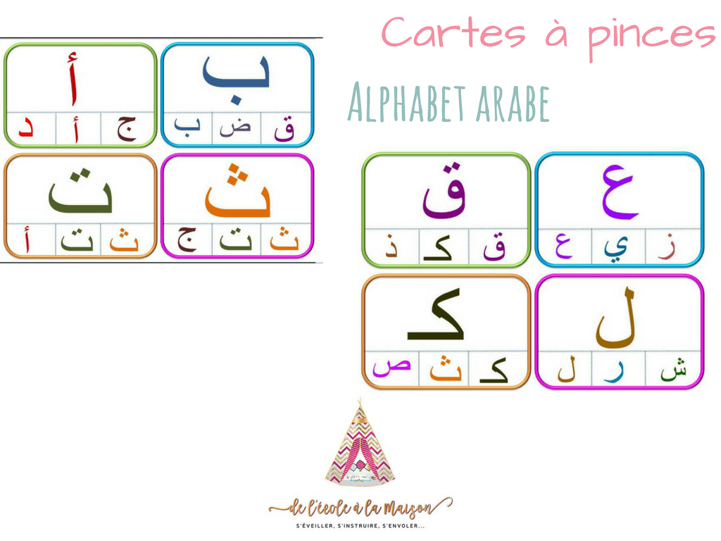 Carte A Pinces Alphabet En Arabe