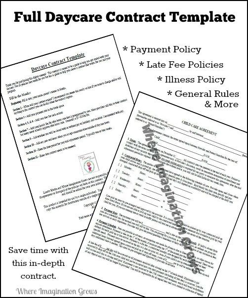 Full & Complete Daycare Handbook/Contract Template