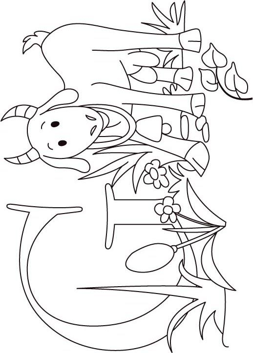 G for goat coloring page for kids- would be great