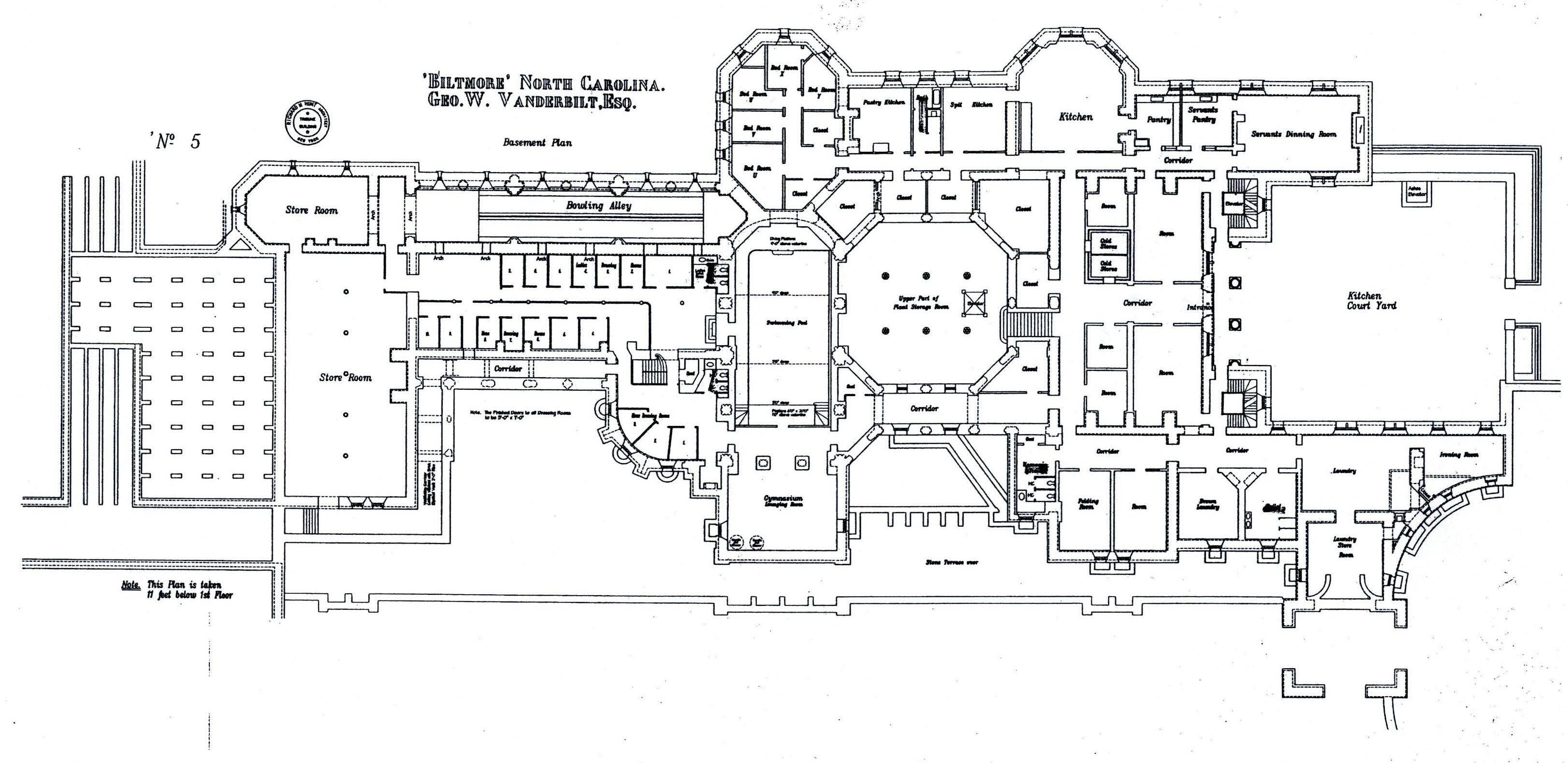 Biltmore basement floor plan with lights labeled  Gilded