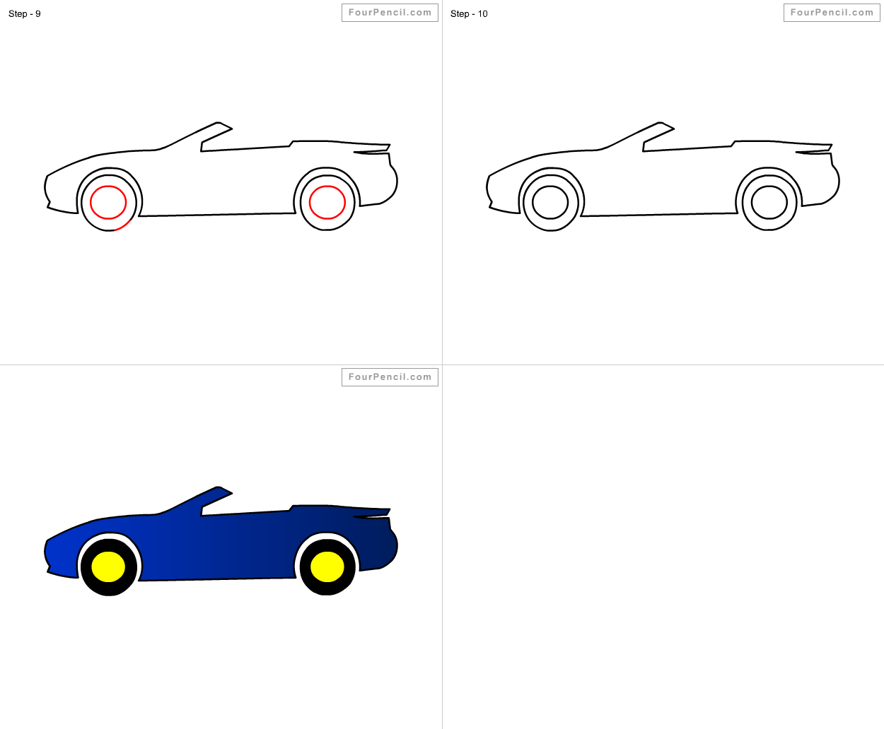 How to draw Racing Car for kids step by step drawing