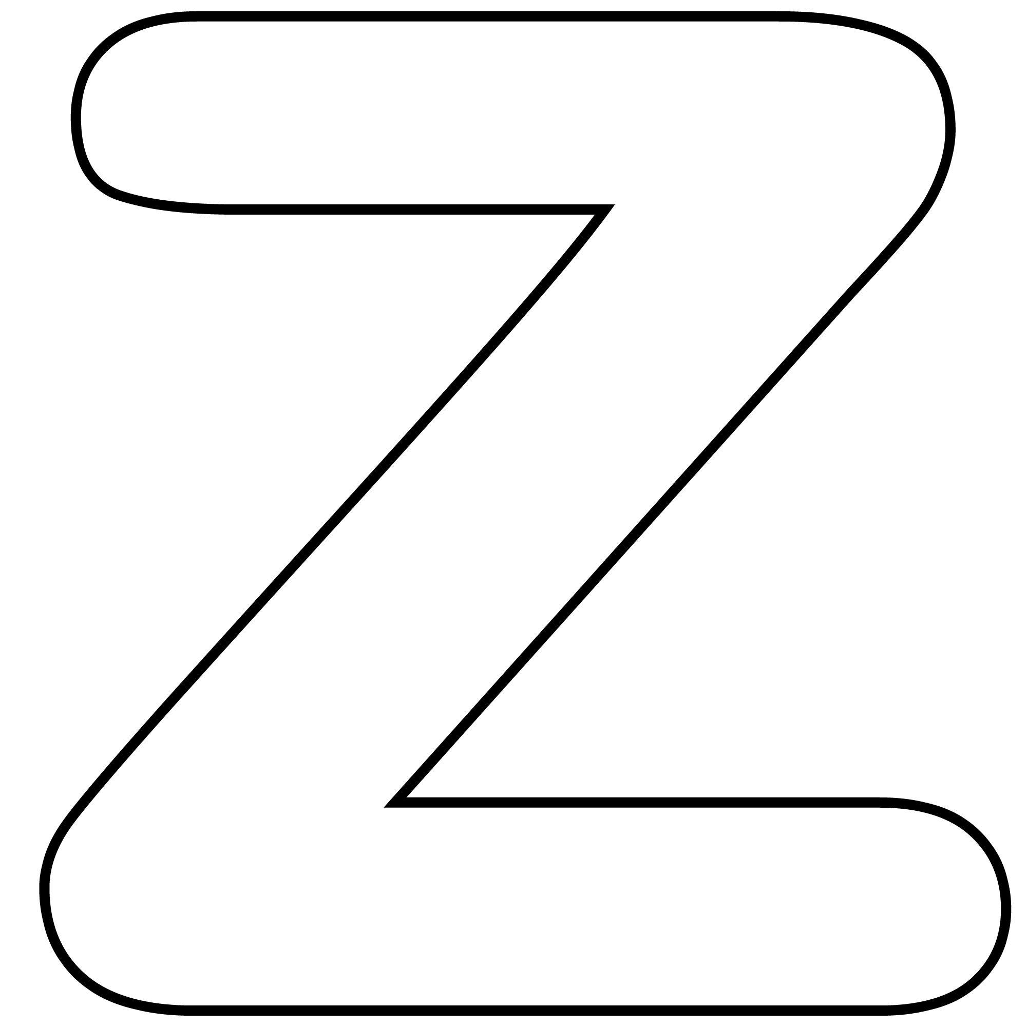 Printable Lower Case Alphabet Letter z Template for Kids