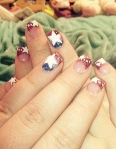 th of july hand painted designs on red white and blue acrylic nails also gold mywork pinterest rh