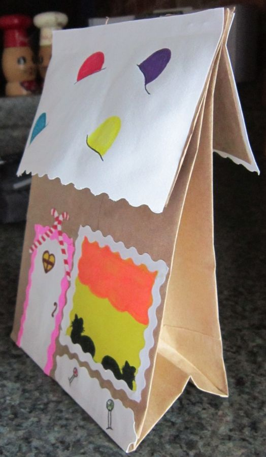 Brown Paper Bag Gingerbread House H Christmas Winter 4 Kids