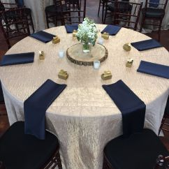 Baby Blue Wedding Chair Covers Hanging Vintage Champagne Crushed Iridescent Tablecloths And Navy