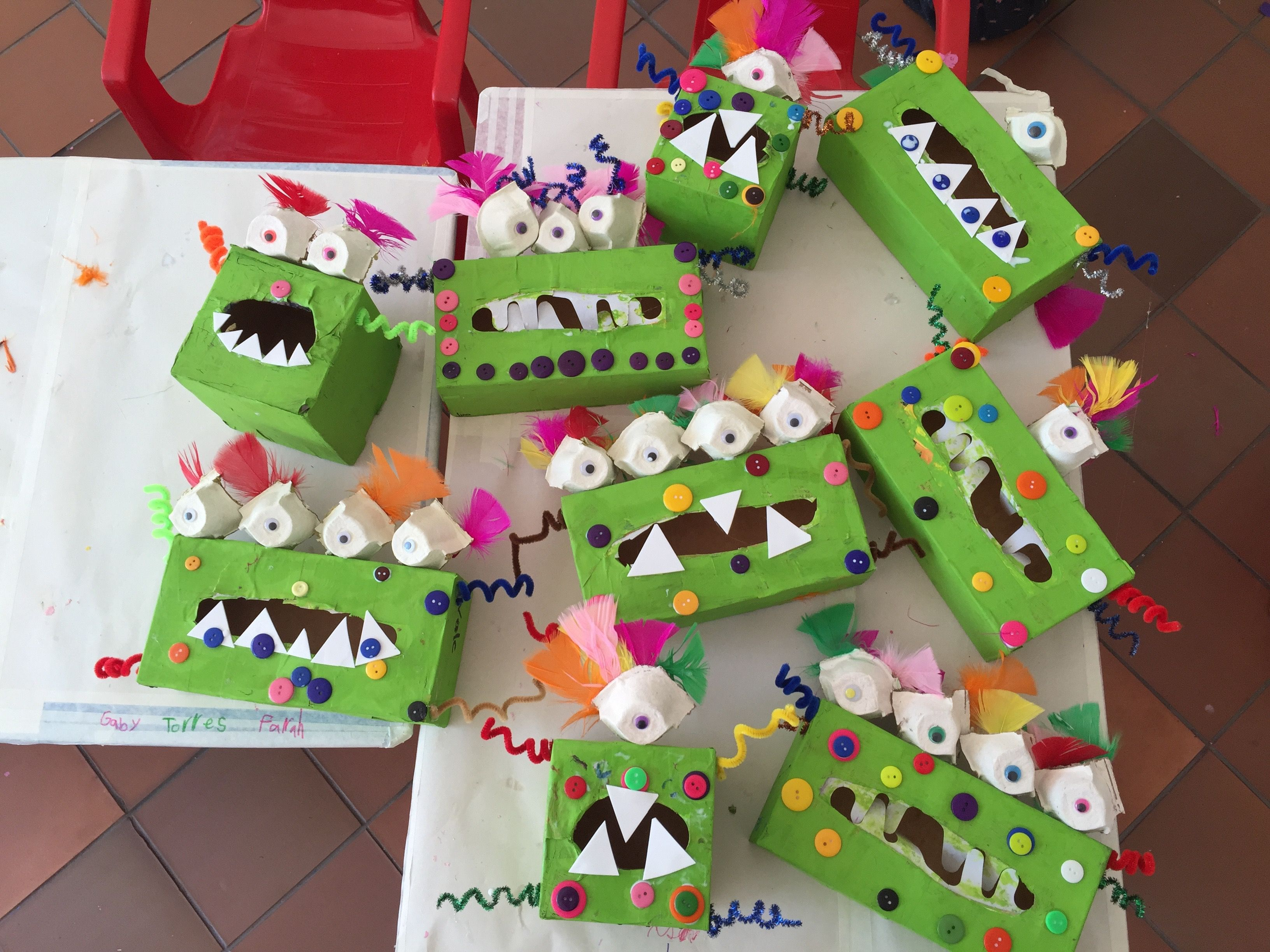 Monster Boxes Made With Tissue Boxes Recycling Art