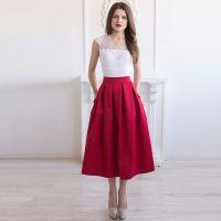 2017 Vintage Burgundy Tea Length Satin Skirts For Women