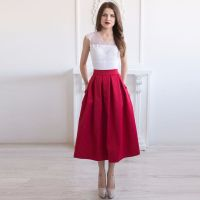 2017 Vintage Burgundy Tea Length Satin Skirts For Women ...