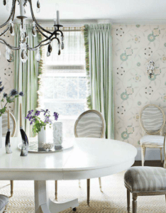 Designer laura church wilmerding added oomph with osborne  little  jangala rose wallpaper dining room chairs from classic imported design look ethereal also drapery and that were made for each other rooms rh pinterest